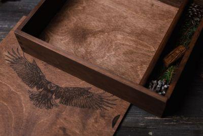 wooden photo box album