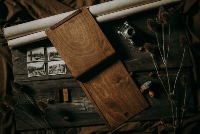 wooden document folder