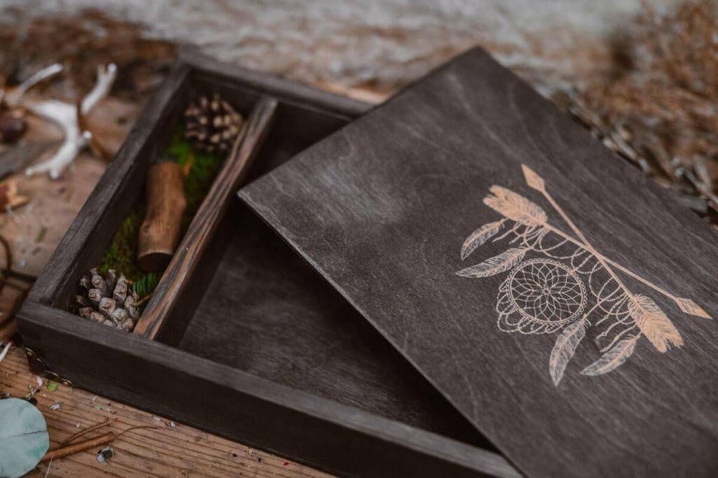 wood usb and box