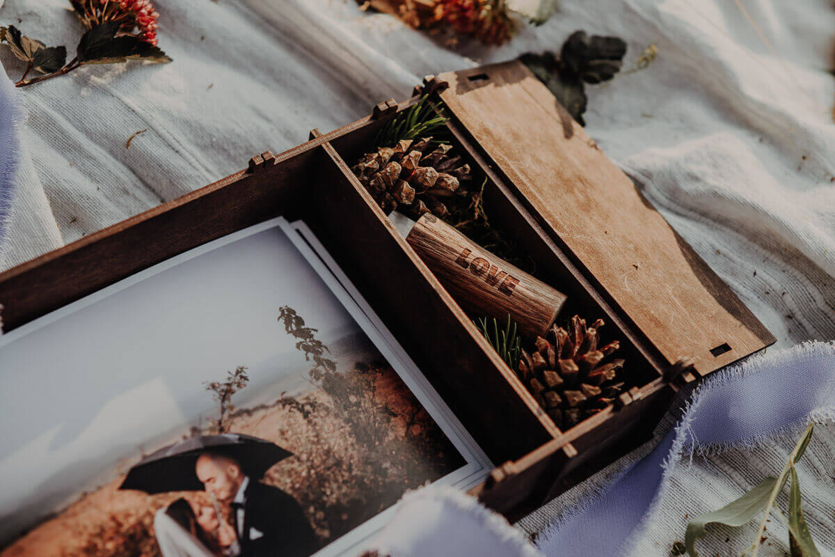 wooden box for photo